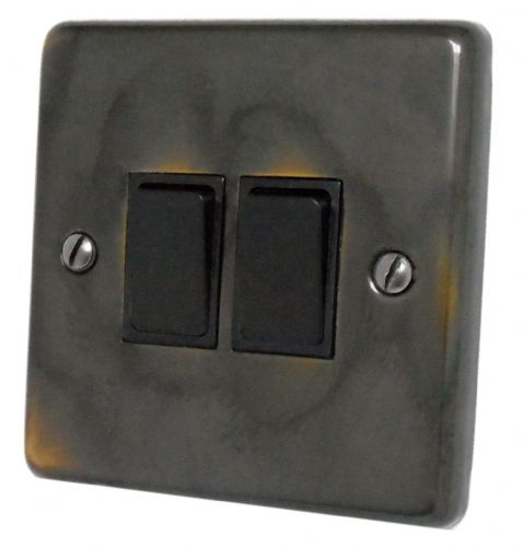 G&H CAN2B Standard Plate Polished Aged Brass 2 Gang 1 or 2 Way Rocker Light Switch